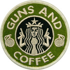 "Патч ""Guns and coffee"", олива, диаметр 8.1 см"